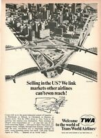 1967 Original Advertising' Vintage Twa Trans World Airlines Pittsburgh