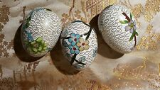 Vintage Chinese, Cloisonne 3 Egg'S, Flower'S & Tree'S Decorated. Nice Nice!