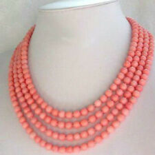 """Fashion jewelry 4 Strands 6-7mm South China Sea Pink Coral Necklace 17-20""""AAA"""