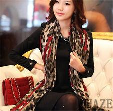 Women Lady Long Wrap Scarf Lady Shawl Gauze Stole Heart Pattern Leopard