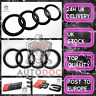 Audi S3 Gloss Black SET KIT of Front Rings Badge Grille Boot Lid Trunk Emblem