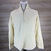 Tommy Hilfiger White Ivory Blue Cream Mens Large L Half 1/2 Zip Sweater Pullover