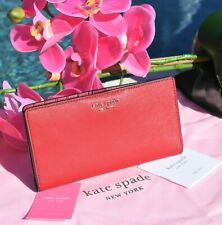 NWT Kate Spade Cameron Large Slim Leather Bifold Wallet Rosso Red New