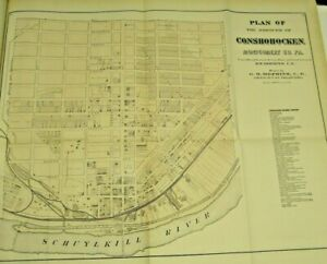 LARGE ANTIQUE HOPKINS 1871 CONSHOHOCKEN MONTGOMERY COUNTY PA. HAND-COLORED MAP