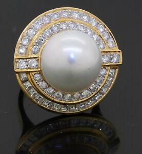 Heavy 18K YG 2.68CT VS1/F diamond & 14mm South Seas pearl ring size 5.75