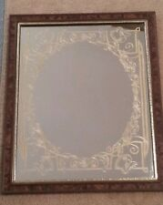 Nice Decorated Bar Mirror with Gold Trim Etching on Mirror 22 x 18 inches
