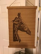 Authentic Canvas Giraffe Picture Art 1984 African Safari! 35' Hanging / Rolls Up
