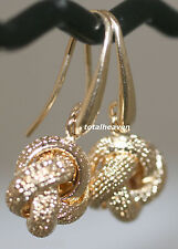 """Italian LOVE KNOT Solid 14K Yellow Gold 14mm Big Dangle Earrings SPARKLING 1.25"""""""