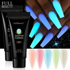 0.5oz Luminous Nail Extension Poly UV Gel Glow In The Dark Acrylic For Extend