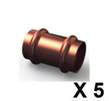 Bag 5 Copper Press Fitting, Slip Coupling Joiner GAS 32mm (GCN1S-32 )