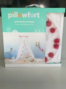 NEW Pillowfort Pom Pom Canopy Netting White & Red Bed Canopy or Play Area