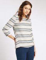 M&S Per Una cream ivory stripe woven top, autumn winter size 8 12 NEW