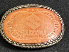 Vintage Leather Suzuki Belt Buckle - motorcycle engine Logo
