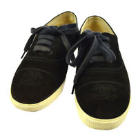 CHANEL CC Logos Sneakers Shoes Black Suede Italy Authentic Y02161e