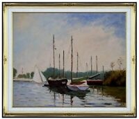 Framed Hand Painted Oil Painting, Repro Monet Pleasure Boat Argenteuil 20x24in