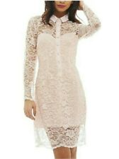 Lace overlay button front shirt Dress by AXParis UK 12 14, BNWT