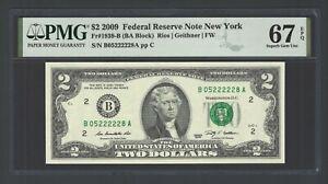 United State -Federal Reserve Note 2 Dollars 2009 Fr1939-B (BA Block)  Grade 67