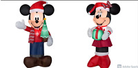 Set Of 2~3.5 Ft Lighted LED Disney Mickey & Minnie Mouse Christmas Inflatable