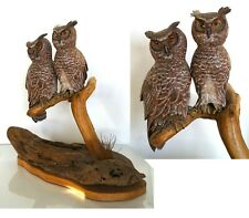 Vintage Sculpture Owl Couple Crafted by Wood & Organic Materials Signed