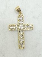 14K Yellow & White Gold Dia. Cut Filigree Religious Cross Pendant 1.5g D1647-58