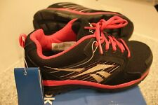 Reebok Womens 7M Athletic Composite Sport Safety Toe Work Shoe RB454 Black Pink