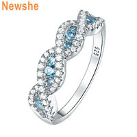 Newshe Eternity Ring Wedding Band For Women Blue Round Cz 925 Sterling Silver