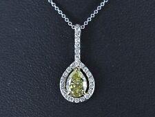 $8500 HRD 18K White Gold Fancy Yellow Brown Pear 1.35ct Diamond Necklace Pendant