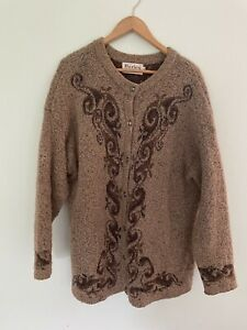 HARLEY of Scotland Sweater Wool Cashmere Cardigan Hunting Grandpa XXL Women's