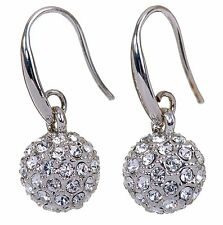 Swarovski Elements Crystal Ball Earrings Rhodium Plated New 7152y