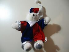 """9"""" plush Jester Teddy Bear doll, made by Toy Works, good condition"""