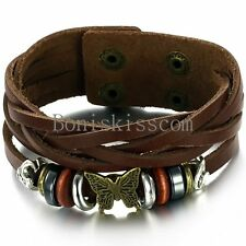 Vintage Butterfly Beads Stud Snap Bracelet Leather Wrap Wristband Men's Women's