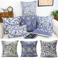 Vintage Oriental Blue Floral Cotton Linen Cushion Cover Pillow Case Home