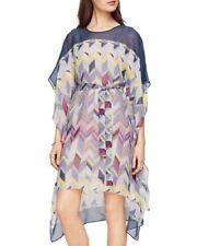 NWT BCBG MaxAzria Suzy Silk Chiffon Blue Chevron Print Kaftan Sleeve Dress Small