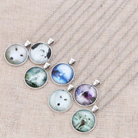 White Wolf Cabochon Glass Silver Chain Pendant Necklace Charm Jewelry Gift
