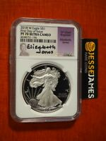 2018 W PROOF SILVER EAGLE NGC PF70 ULTRA CAMEO ELIZABETH JONES FIRST DAY ISSUE