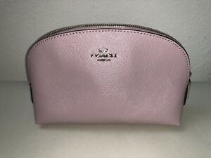Coach Cosmetic Case Travel Zip Makeup Bag Leather Light Purple/Pink New