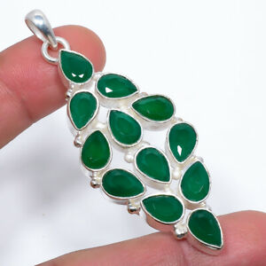 "Emerald 925 Sterling Silver Pendant Jewelry 2.73"" F2514"
