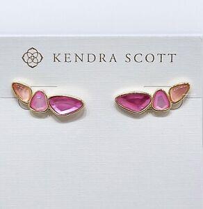 New Authentic KENDRA SCOTT Women 662 Gold Blush Pink Ivy Climber Stud Earrings