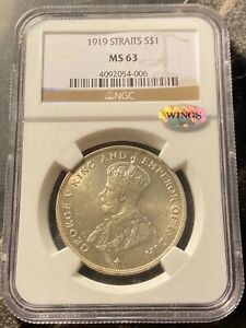 1919 Straits Settlements Silver Dollar NGC MS63
