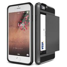 Black Slim Wallet Case Card Pocket Hybrid Hard Case Cover For iPhone 6 6s Plus