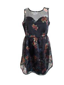 Mela Loves London Sheer Mesh Floral Fit & Flare Occasion Dress Sz 12 BNWT Defect
