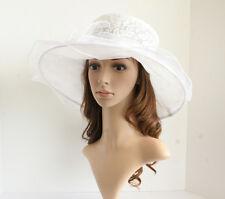 NEW Church Derby Wedding Lace & Organza Soft hat White/Off-White VF514