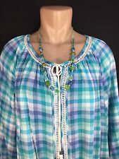 LADIES JUNIORS WOMENS SHIRT TOP BLOUSE BRAND INDIGO SIZE LARGE TEAL BLUE CHECKED