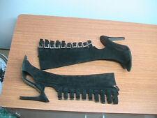 Womens 37 EU, 6.5 US Halston Clou Black Suede Peep Toe Zip Buckle Heels Boots