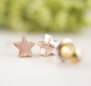 Pretty Little Five Point Star Studs, Brushed Rose Gold Plated.