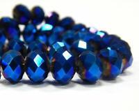 25 TSCHECHISCHE KRISTALL GLASPERLEN FACETTIERT 6mm Fire-Polished Blau BEST X63