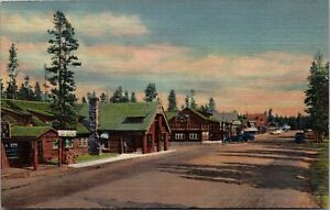 Linen Postcard Street Scene at West Yellowstone National Park Montana~1614