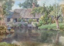 C Windsor -British Watercolor, circa early 20th Century -Idyllic Cottage Scene