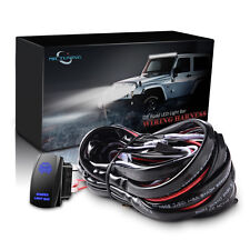 Universal 12ft 40ARelay Wiring Harness Kit 5pin Switch Blue LED Bumper Light Bar