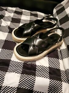 Prada Espadrille Sandals Black Leather Platform  Size 36.5 100% Authentic
